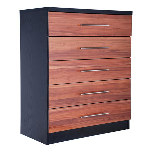 GFW WYOMING 5 Drawer Chest in Walnut and Black High Gloss